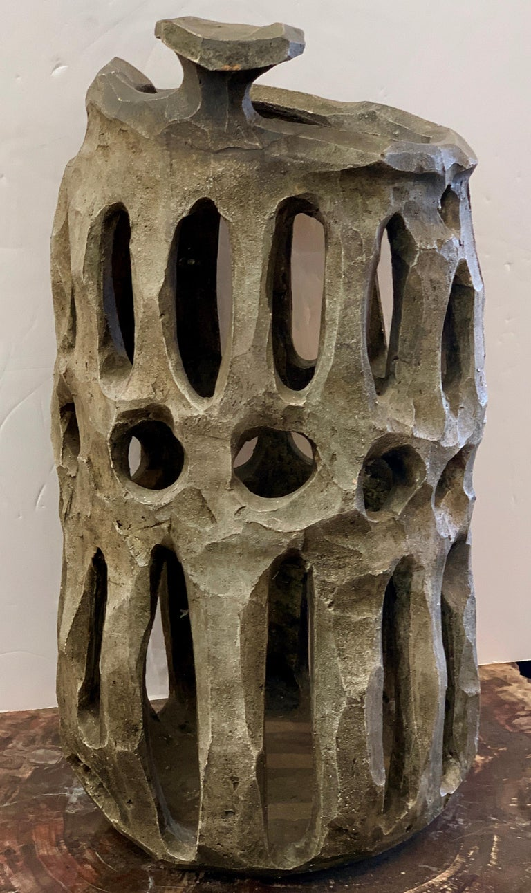 American Brutalist Pottery Vessel For Sale