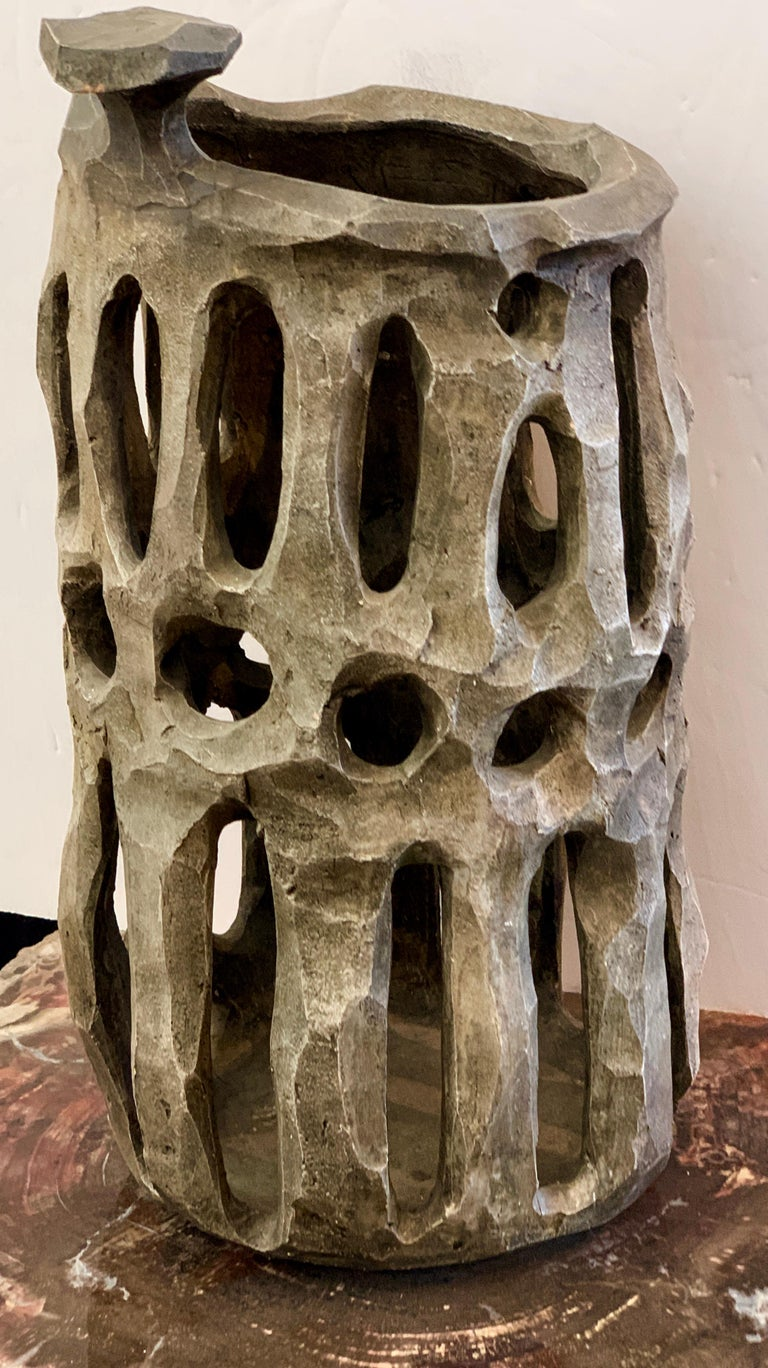 Hand-Crafted Brutalist Pottery Vessel For Sale