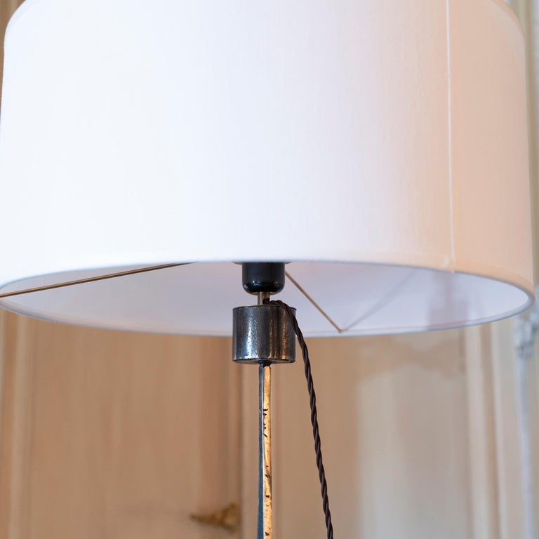 Brutalist Raw Steel Tall Table Lamp, France, 1970s For Sale 5
