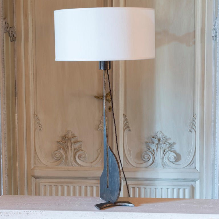 French Brutalist Raw Steel Tall Table Lamp, France, 1970s For Sale