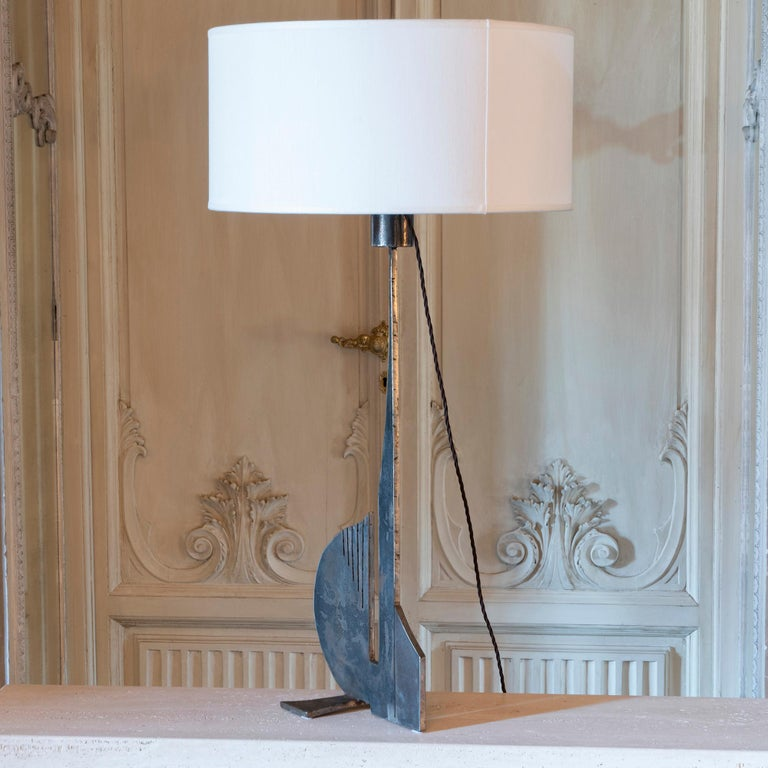 Cut Steel Brutalist Raw Steel Tall Table Lamp, France, 1970s For Sale