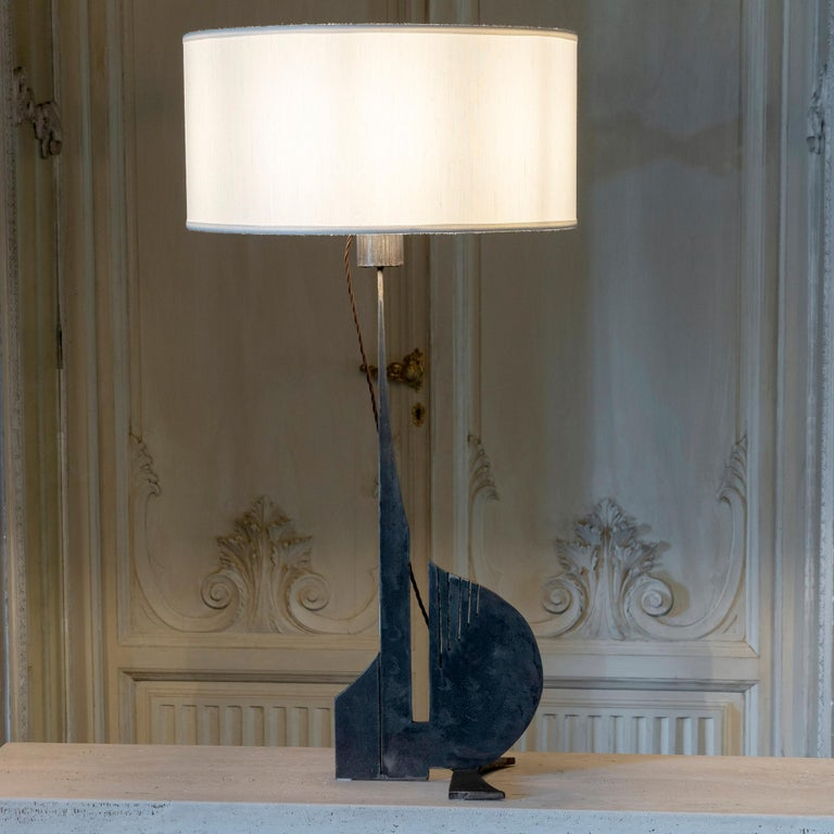 Brutalist Raw Steel Tall Table Lamp, France, 1970s For Sale 4
