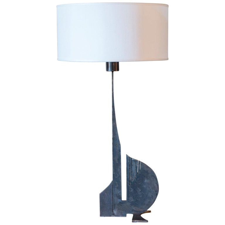 Brutalist Raw Steel Tall Table Lamp, France, 1970s For Sale