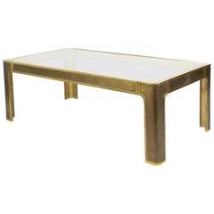 Brutalist or Regency Coffee Table in Solid Bronze Designed by Peter Van Heeck
