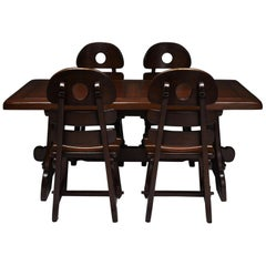 Brutalist Rustic Modern Dining Set in Stained Oak