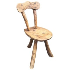 Brutalist Rustic Modern Sculptured Chair in Elm in the Style of Alexandre Noll