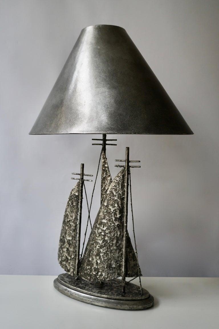 Mid-Century Modern Brutalist Sailboat Ship Lamp For Sale