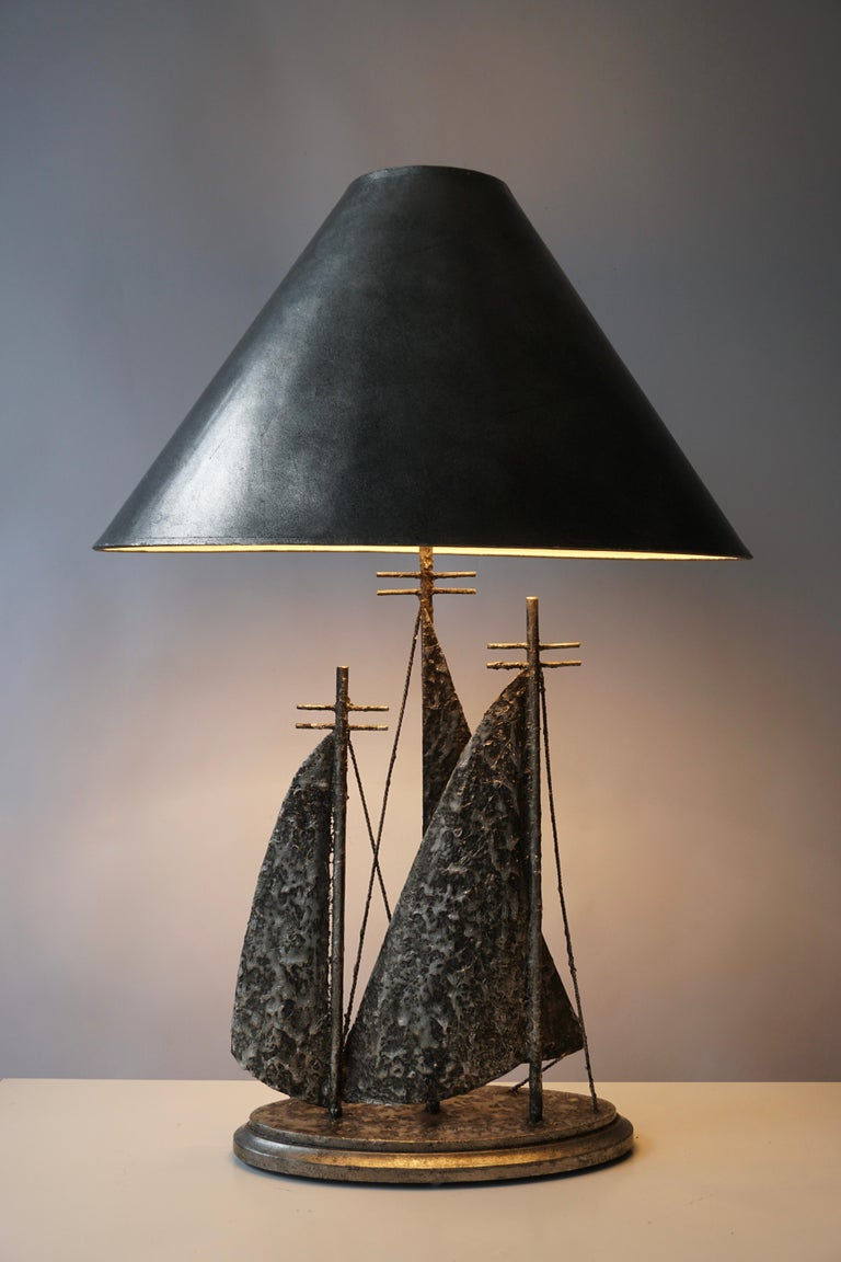 Italian Brutalist Sailboat Ship Lamp For Sale