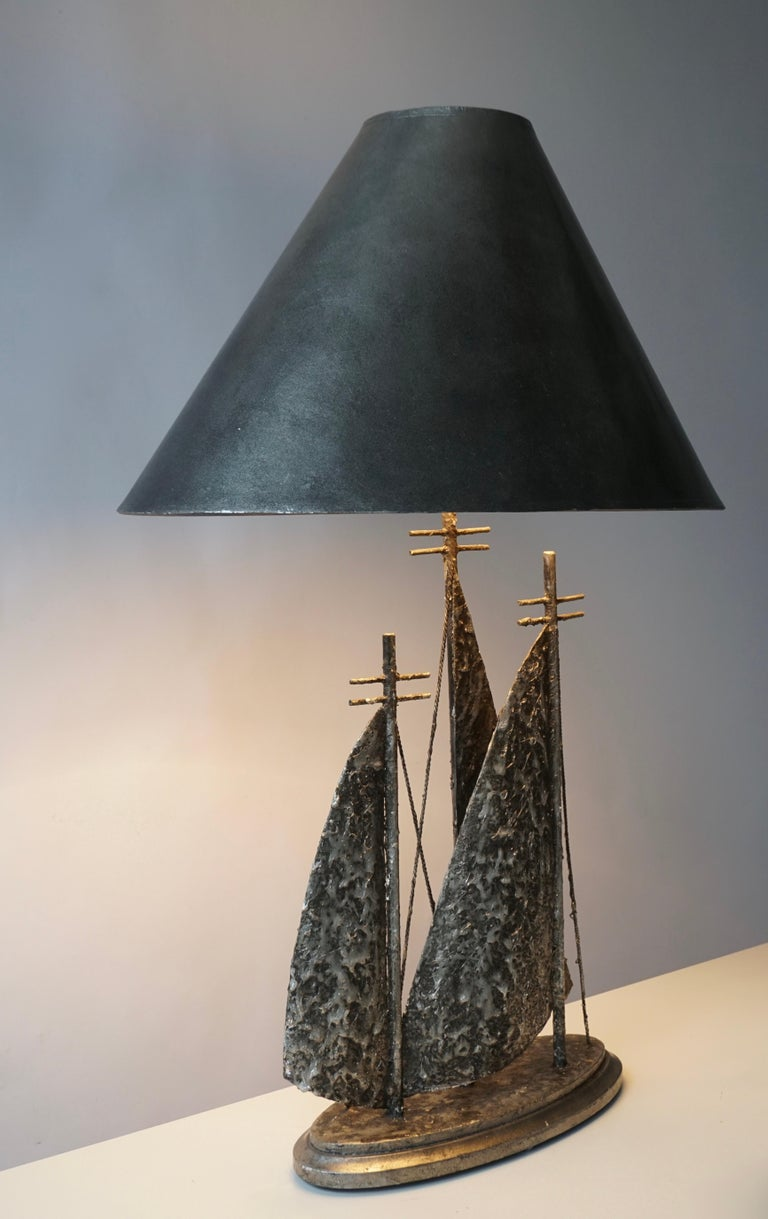20th Century Brutalist Sailboat Ship Lamp For Sale