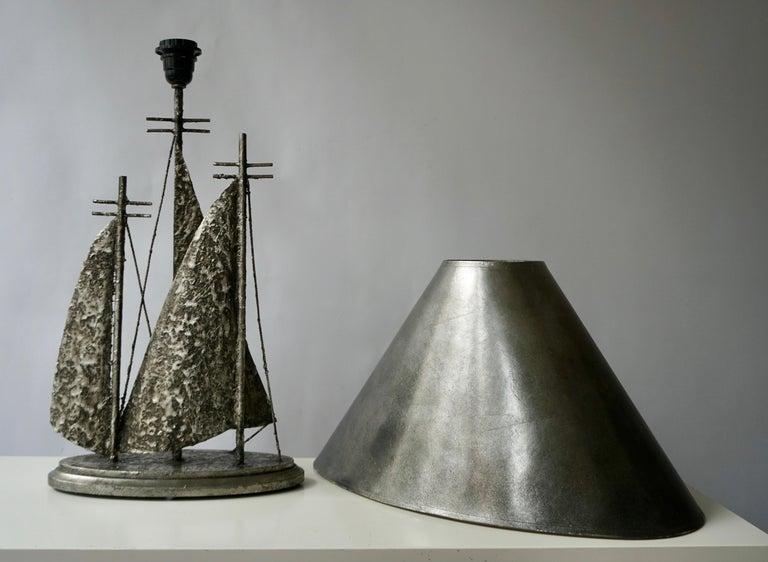 Metal Brutalist Sailboat Ship Lamp For Sale
