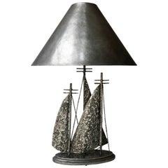 Brutalist Sailboat Ship Lamp