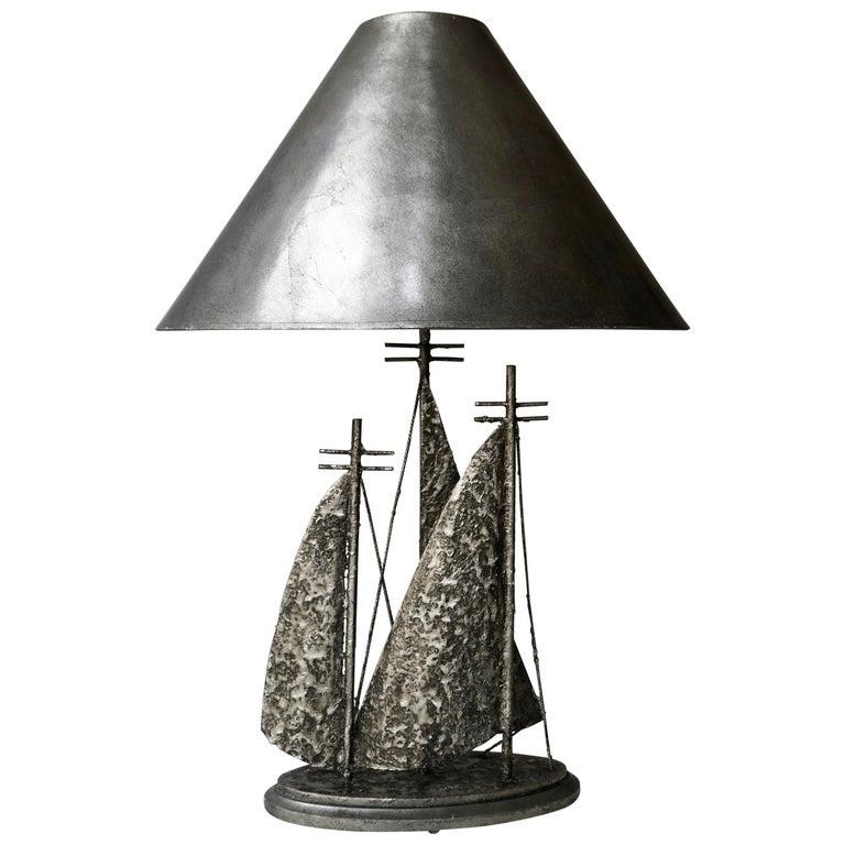 Brutalist Sailboat Ship Lamp For Sale