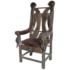 Brutalist Sculptural Bronze Armchair Signed ZAVALA, Game of Thrones Era
