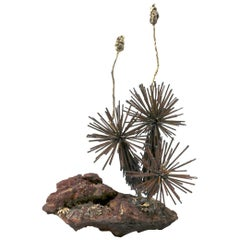 Brutalist Sculpture Abstracted Plant Forms on Terracotta Base