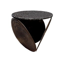 Brutalist Side Table in Welded Steel with Granite Top, 1970s