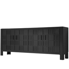 Brutalist Sideboard, Black Stained Wood, Europe, 1970s