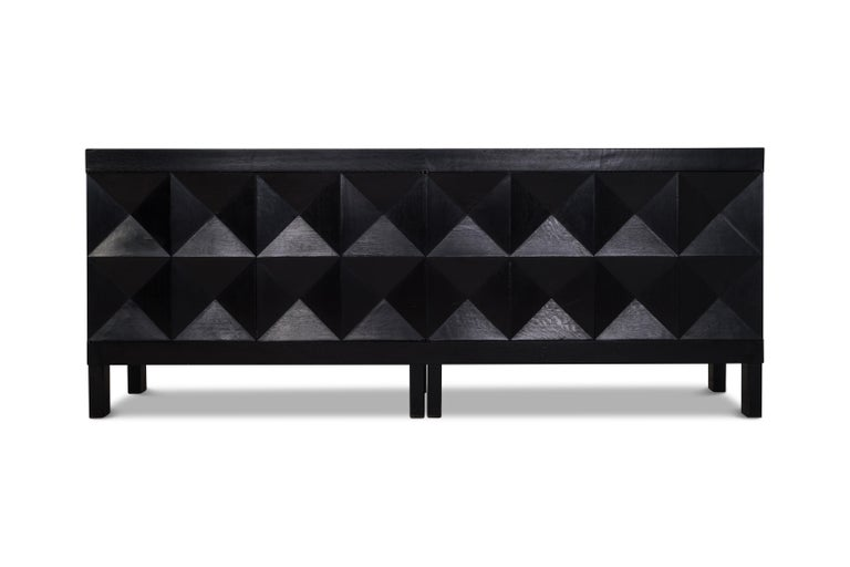 Brutalist Sideboard in Stained Oak by De Coene with Diamond Patterned Doors In Good Condition For Sale In Antwerp, BE