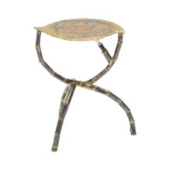 Brutalist Signed Henri Fernandez Side Table Agate Stone Brass, 1970s
