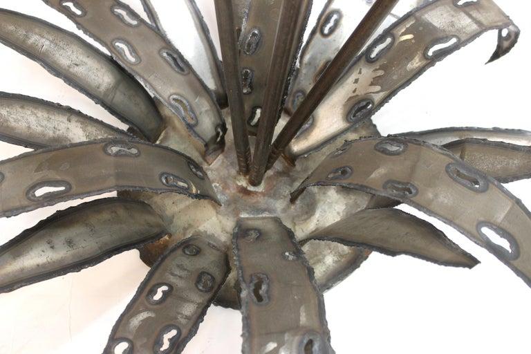Brutalist Signed Metal Flower Sculpture For Sale 6