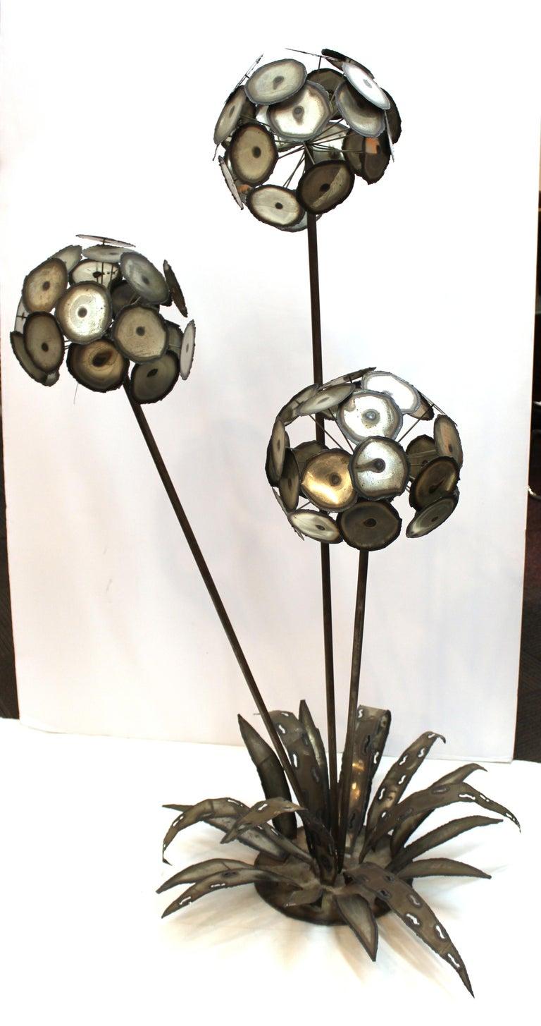 American Brutalist Signed Metal Flower Sculpture For Sale