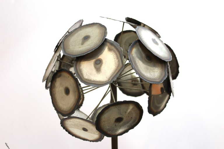 Brutalist Signed Metal Flower Sculpture In Good Condition For Sale In New York, NY