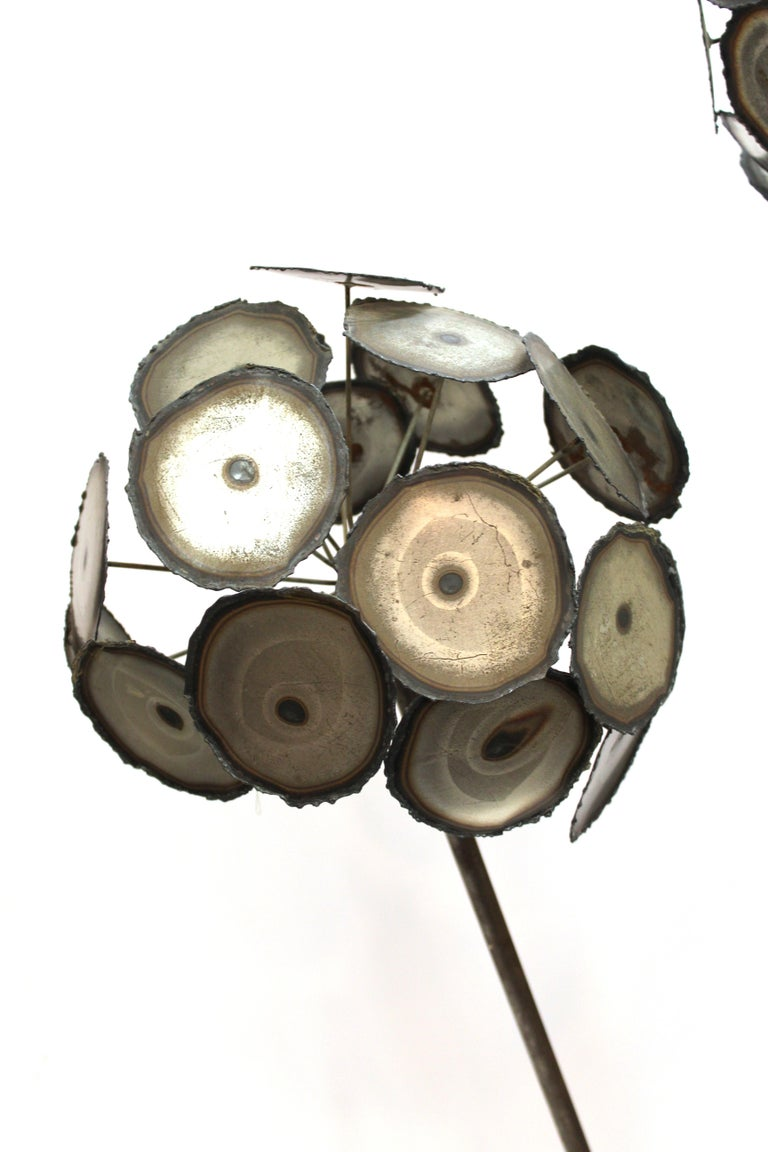 Late 20th Century Brutalist Signed Metal Flower Sculpture For Sale