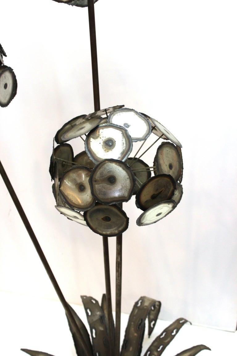 Brutalist Signed Metal Flower Sculpture For Sale 1
