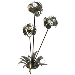 Brutalist Signed Metal Flower Sculpture