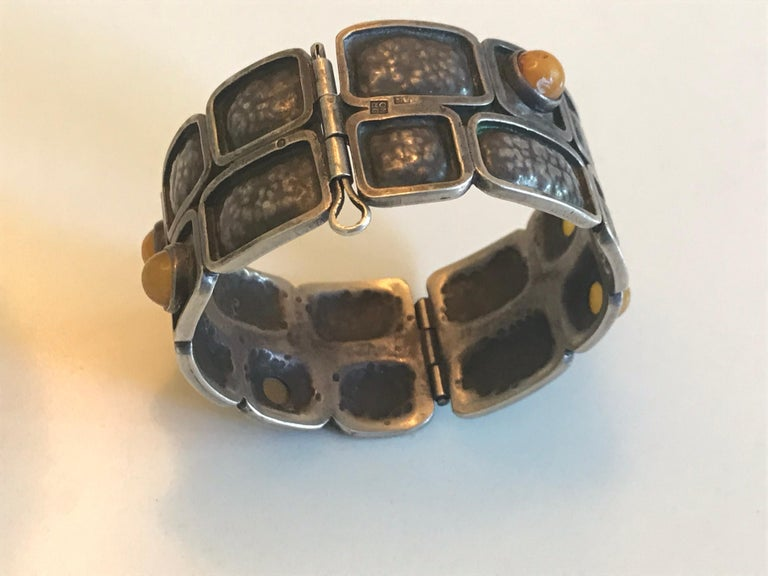 20th Century Brutalist Silver Cuff, Orno Warsaw For Sale