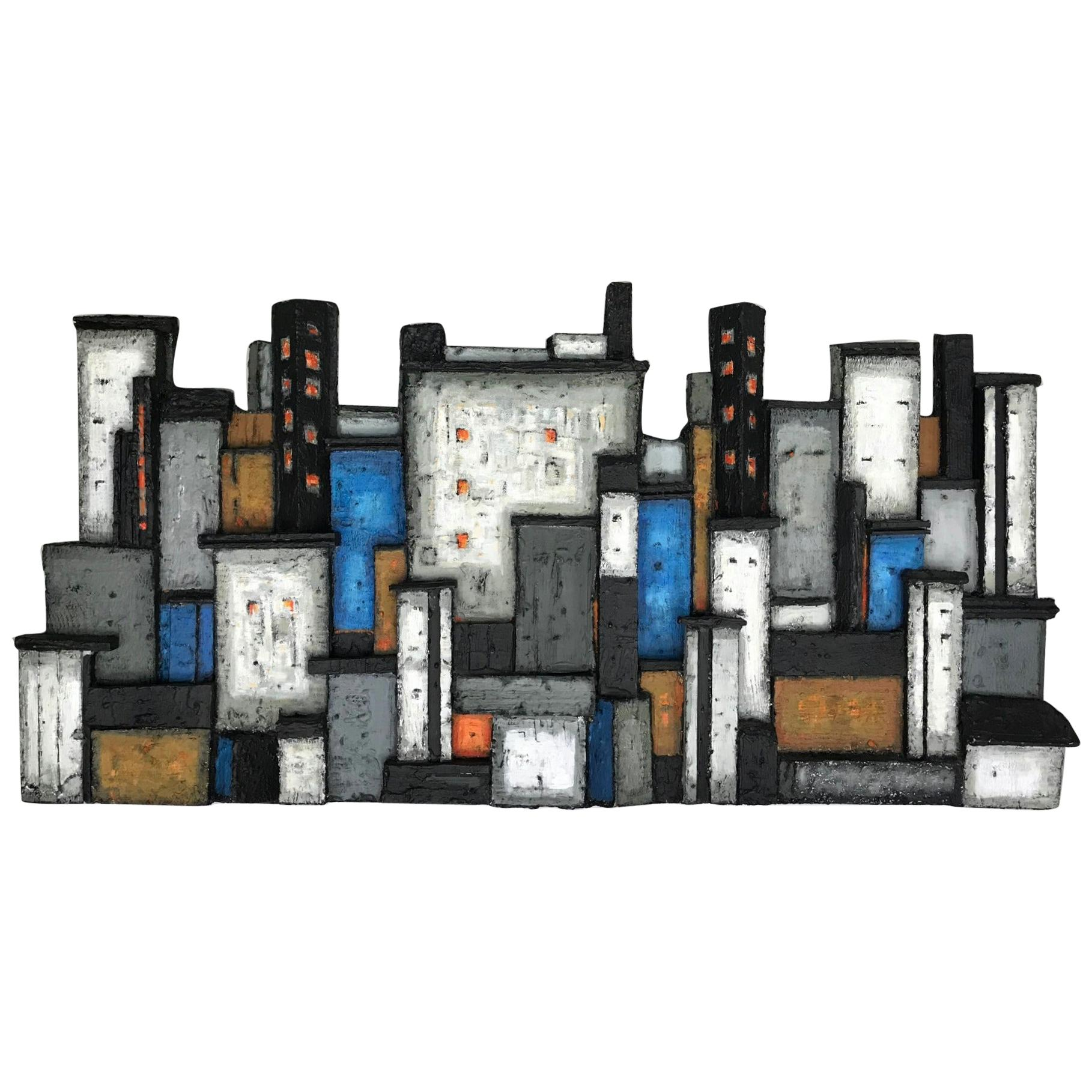 Brutalist Cityscape Wall Mounted Art Relief in Wood by Dorrit Kahler