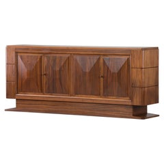 Brutalist Solid Mahogany Sideboard, France, 1940s
