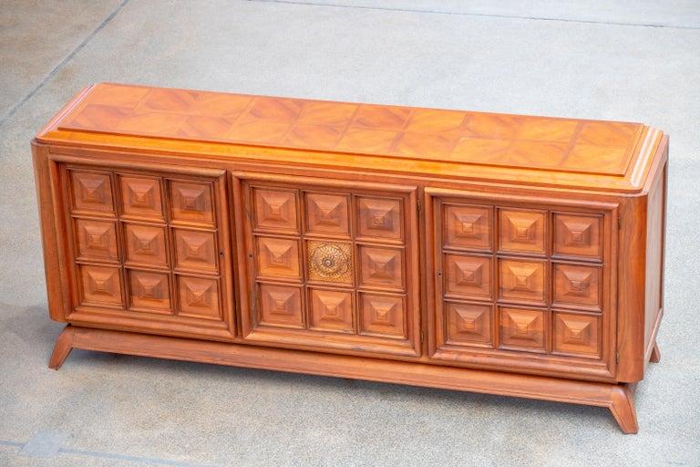 Brutalist Solid Oak Sideboard, France, 1940s For Sale 10