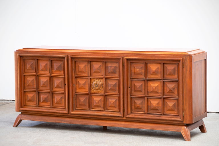 Mid-20th Century Brutalist Solid Oak Sideboard, France, 1940s For Sale