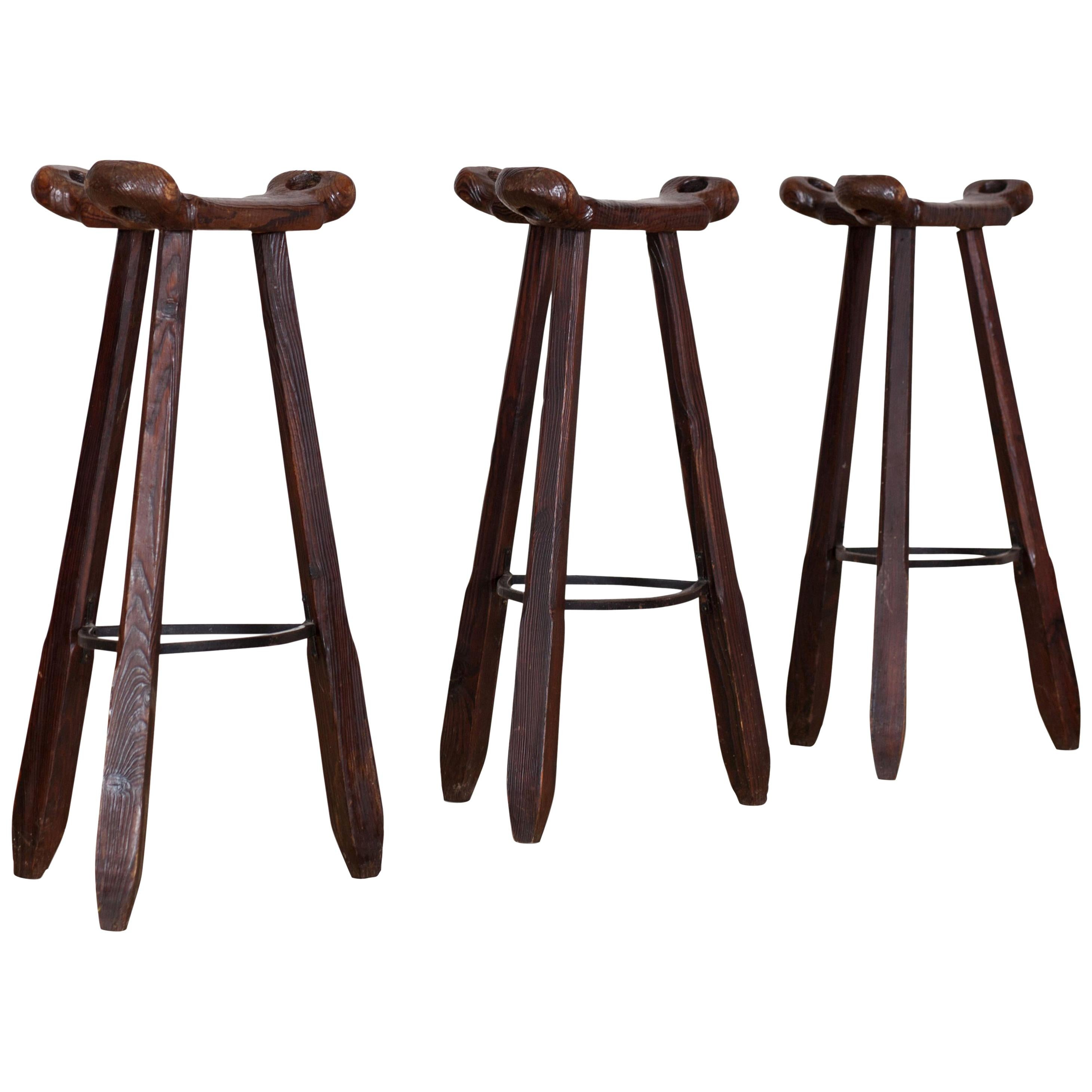 Brutalist Bar Stools in the Style of the Marbella Stool by Sergio Rodrigues