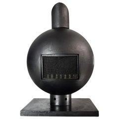 Brutalist Spherical Mid-Century Modern Wrought Iron Fireplace