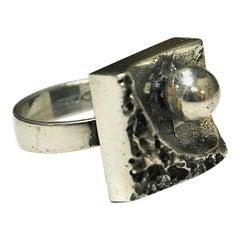 Brutalist Square Vintage Silver Ring, Finland, 1970