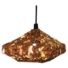 Brutalist Square Shaped Copper Ceiling Lamp 1960s, Sweden