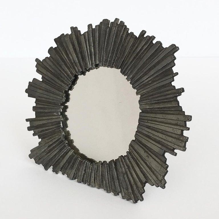 Mid-Century Modern Brutalist Starburst Pewter Frame or Mirror For Sale