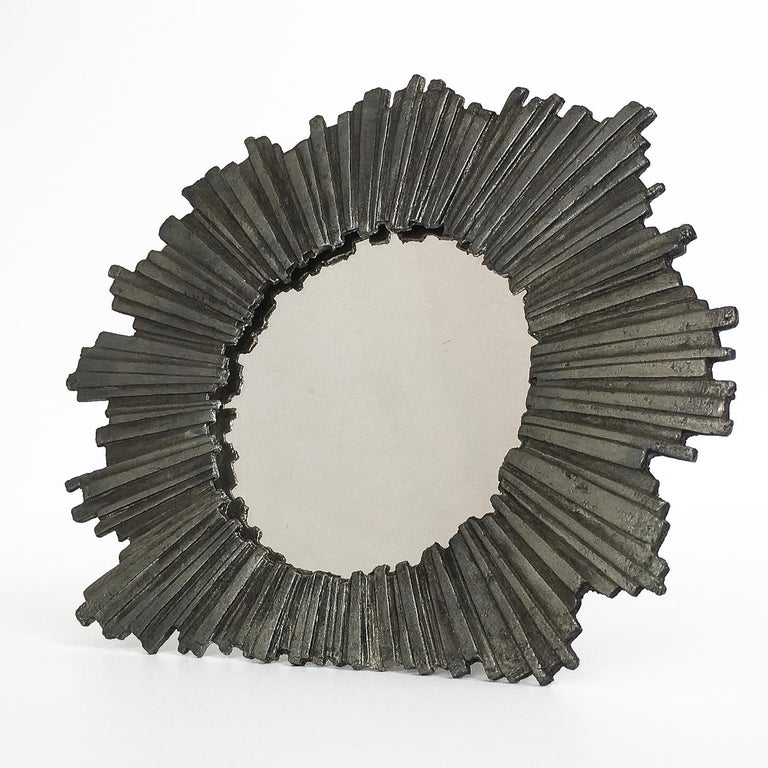 American Brutalist Starburst Pewter Frame or Mirror For Sale