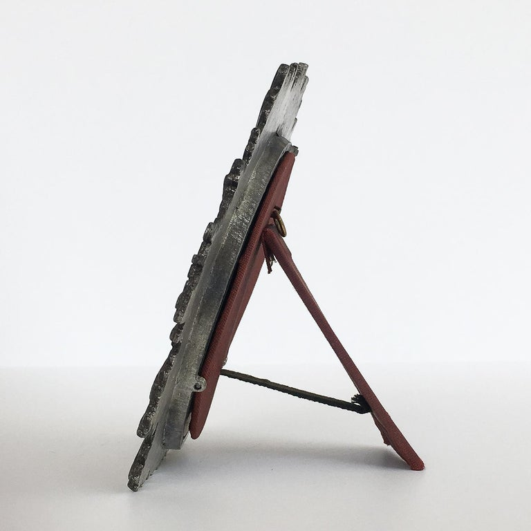 Brutalist Starburst Pewter Frame or Mirror In Excellent Condition For Sale In Chicago, IL