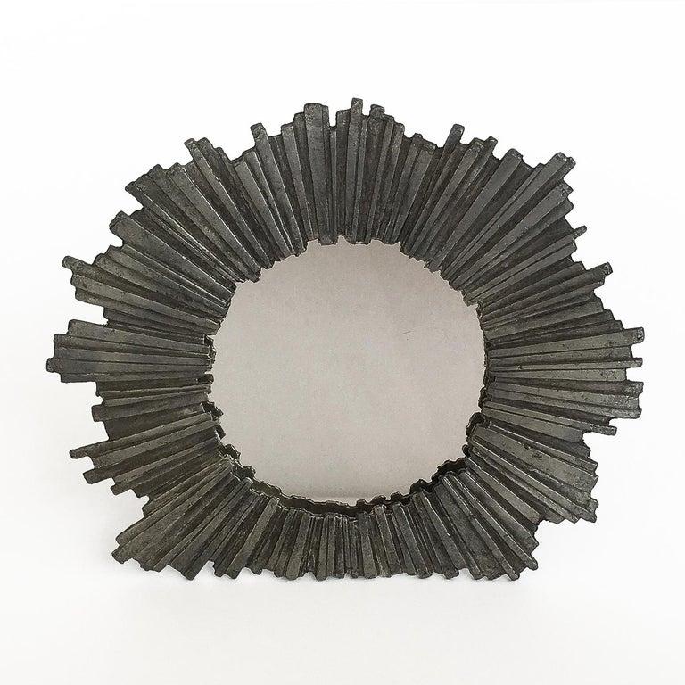 Brutalist Starburst Pewter Frame or Mirror For Sale 2