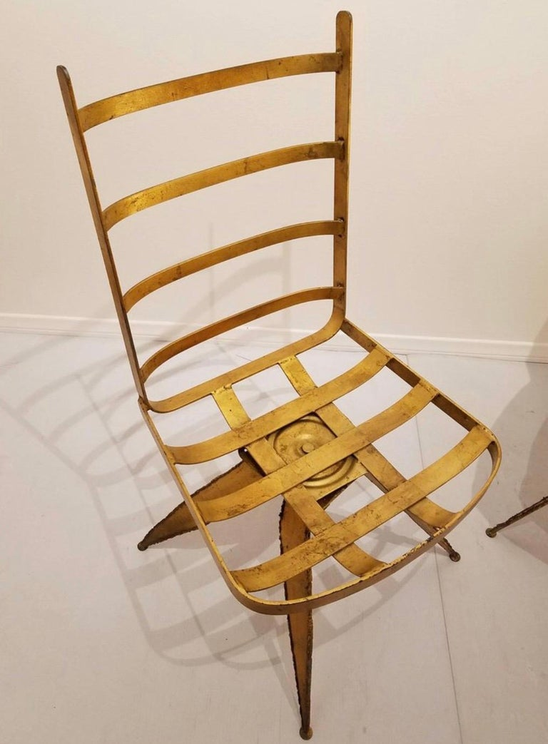 Brutalist Steel Swivel Dining Chairs, Set of 6 In Good Condition For Sale In East Hampton, NY