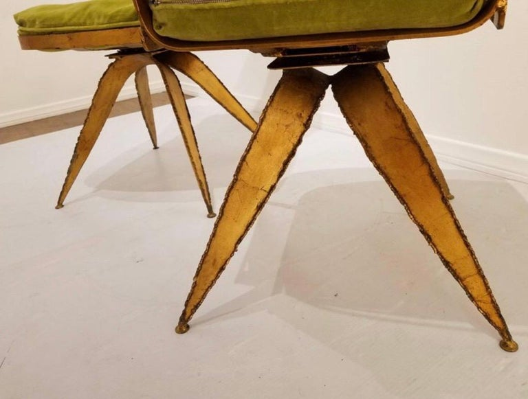 Late 20th Century Brutalist Steel Swivel Dining Chairs, Set of 6 For Sale
