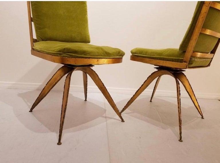 Cut Steel Brutalist Steel Swivel Dining Chairs, Set of 6 For Sale