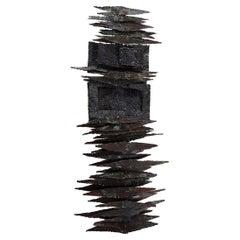 Brutalist Steel Wall Sculpture