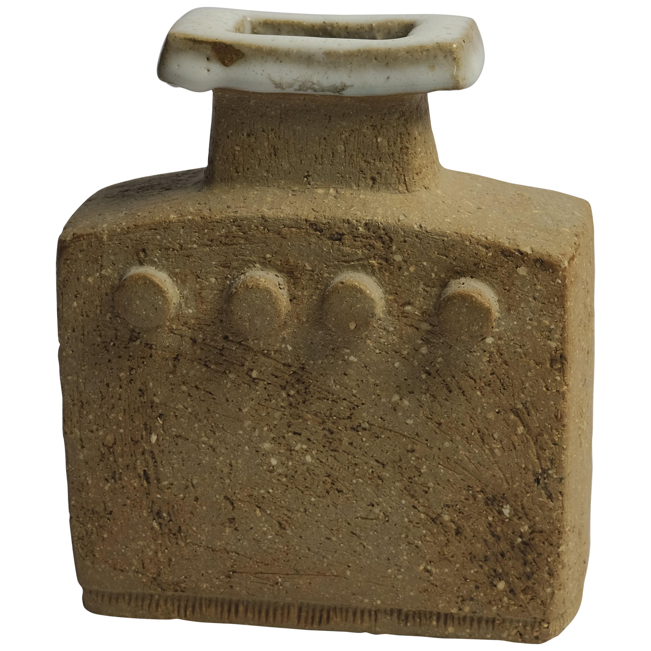 Brutalist Stoneware Vase by Curt Magnus Addin, Sweden, 1970s