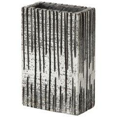 Brutalist Striated Rectangular Metallic Vase in Light Silver