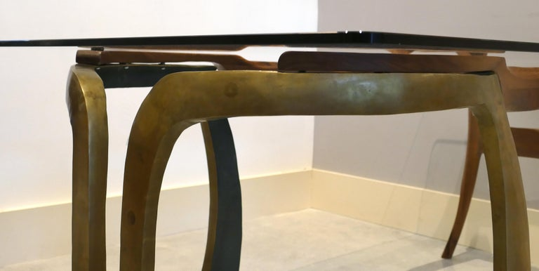 Brutalist Studio Sculptural Bronze and Wood Desk or Table For Sale 4