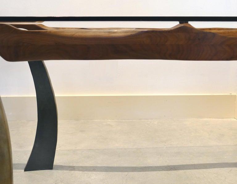 Brutalist Studio Sculptural Bronze and Wood Desk or Table For Sale 5