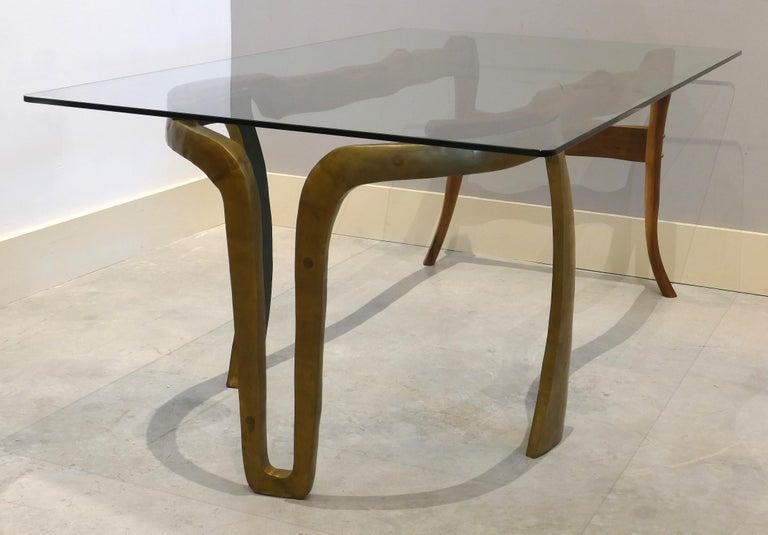 Brutalist Studio Sculptural Bronze and Wood Desk or Table For Sale 8